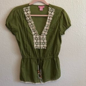 SHE'S COOL BOHO Short Sleeved Embroidered Tunic